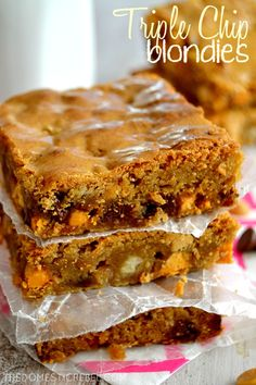 These Triple Chip Blondies are the BEST! Buttery, chewy, gooey and loaded with butterscotch, peanut butter and chocolate chips, they're sure to please everyone's taste buds! No Bake Desserts, Just Desserts, Dessert Recipes, Baking Recipes, Cookie Recipes, Brown Sugar Cakes, Apple Spice Cake, Cookie Brownie Bars, Butterscotch Chips