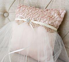 ballerina pillow inspiration? @Heather Olsen Wedding Ring Boy Pillow Pink Tulle Satin by LuckyYouLuckyMe, $39.00