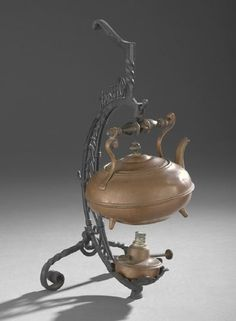 Victorian Copper Tea Kettle and Stand