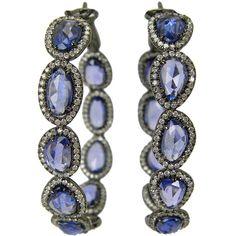 Ceylon Blue sapphire oval hoops (19 470 BGN) ❤ liked on Polyvore featuring jewelry, earrings, oval earrings, blue sapphire earrings, hoop earrings, blue sapphire hoop earrings and blue sapphire jewelry