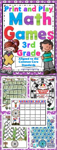 Math Games and Centers: 3rd Grade Print and Play (No Prep) Your students will have a blast while working on Common Core math skills with this set of 50+ math games. All the games are 1 page with the spinner on the game board. All you need to do is print and play! $
