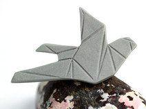 Origami Taube Porzellan Brosche, grau, Keramik
