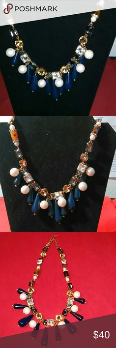 """Ann Taylor Necklace Mixed Media Antique Gold, Crystal, Pearlized beads, Navy Blue teardrop-shape beads, and Tortoise and Crystals beads Necklace. 15.5"""" long, 2.5"""" extender chain and a lobster claw clasp.  Never worn before. Given to me as a Gift. NWOT!! Still out in Stores NOW!! Ann Taylor Jewelry Necklaces"""