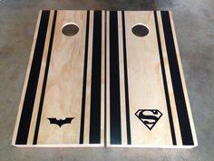 Just finished my Superman/batman cornhole set.