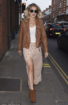 She's back: Caggie Dunlop, 27, stepped out with her former Made In Chelsea cast mates during the Aya Silk Launch Party in London on Friday
