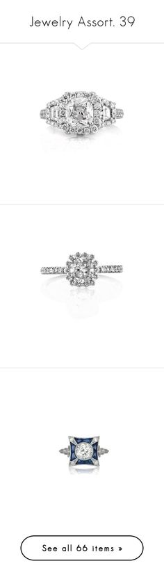 """""""Jewelry Assort. 39"""" by katiemarilexa ❤ liked on Polyvore featuring jewelry, rings, white, engagement rings, white ring, white engagement rings, antique jewelry, cushion cut ring, round engagement rings and diamond jewellery"""