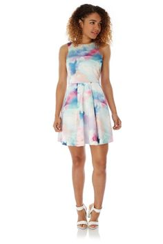 bb22fb2cadd Cloud Print Party Dress falls above the knee, it features a round neckline,  sleeveless cut, V back and an exposed gold zip at the back.