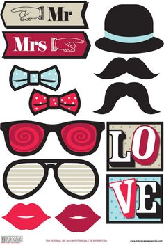 Botanical PaperWorks Free Printable Photo Booth Props- could use hat, bow ties, and mustaches for hollywood ending party