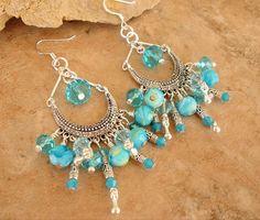 Ocean Gypsy Chandelier Earrings Boho Beaded Crystal by BohoStyleMe
