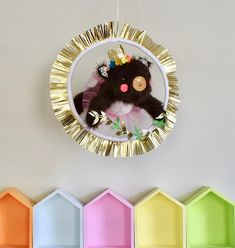 This is from my series of circus animals. This bear is one of a kind, handmade, unique. She is made from a soft faux fur with embroidered elements. She has a satin crown, and tulle tutu. Her hoop has neon dots and a gold metallic fringe.  The bear is jumping through the hoop, like Pink Cheeks, Tulle Tutu, Fiber Art, Faux Fur, Hoop, Metallic, Nursery, Satin, Crown