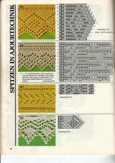 4 knit lace borders with chart patterns