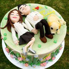 Cake for lovely couple - Kuchen von - Geburtstagskuchen Anniversary Cake Designs, Happy Anniversary Cakes, Crazy Cakes, Cupcakes, Cupcake Cakes, Housewarming Cake, Birthday Cake For Boyfriend, Mousse Au Chocolat Torte, Bolo Floral