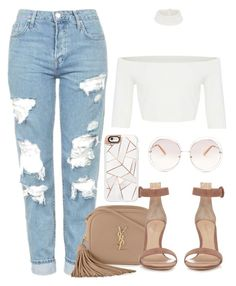 """""""nudes"""" by alexa7-p ❤ liked on Polyvore featuring Topshop, Yves Saint Laurent, Gianvito Rossi, Casetify and Chloé"""