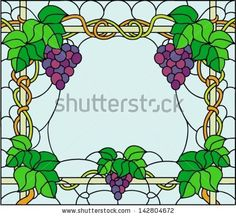 green grapes with leaf and vine stained glass sun catcher glas glasmosaik und flaschen. Black Bedroom Furniture Sets. Home Design Ideas
