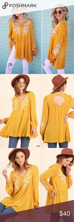 Mustard Embroidery Open Back Tunic Blouse Boho Top Bring out your inner boho chic with this mustard floral top with open back! LOVE IT! Brand new! Sizes S M L. Runs true to women's sizes, size down if in between! :) umgee Tops Blouses