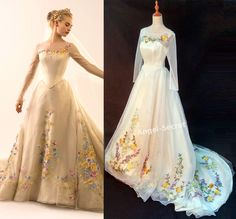 Knock off shop for cosplay! Movie Costume Cinderella 2015 ivory gown wedding bridal long train · angel-secret · Online Store Powered by Storenvy Wedding Dress Costume, Wedding Dress Chiffon, Colored Wedding Dresses, Bridal Dresses, Wedding Gowns, Wedding Dress Patterns, Cinderella Dresses, Cinderella Wedding, Disney Dresses