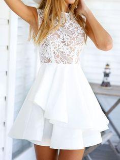 White Sheer Crochet Lace Panel Sleeveelss Layered Skater Dress