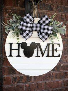 Mickey Mouse Wreath, Mickey Mouse Crafts, Disney Wreath, Disney Crafts, Mickey Mouse Decorations, Wooden Door Signs, Wooden Door Hangers, Wood Signs, Welcome Signs Front Door