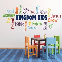 Add some zaz to your fellowship hall, youth room, Sunday School room or church with our word collage Church Nursery Decor, Kids Church Decor, Kids Church Rooms, Sunday School Decorations, Church Decorations, Children Church, Church Ideas, Youth Rooms, Kids Room