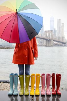 Colorful rain gear! #hunterboots #dumbo