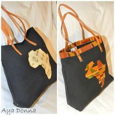 Africa Kente Tote Bag by ayadonna on Etsy Only $15  hand made, black owned business.