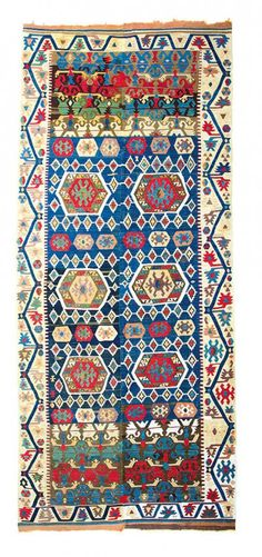 Antique Anatolian Turkish Hotamis Kilim, Konya (Central Anatolia), Turkey.