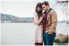 Portland winter engagement photos at Sellwood Riverfront Park