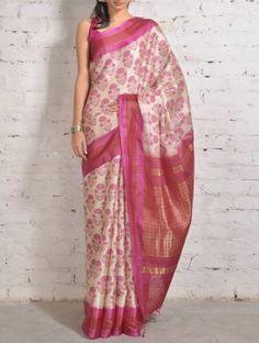 Red-Pink Tussar Silk Saree