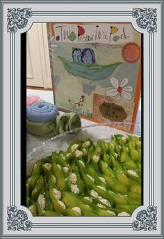 Storybook themed twin's baby shower - Two Peas in a Pod stuffed pea pods. Love it!