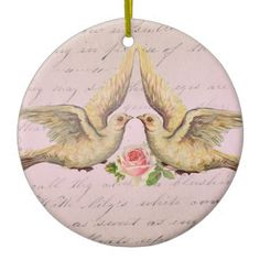 SOLD! Romantic Doves in Love Vintage Collage Christmas Ornament by VintageArtBazaar. #romantic #doves #love #ornaments http://www.zazzle.com/vintageartbazaar*