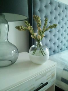Tilden Headboard, Wood Tile Nightstand, Glass Gourd Lamp + Vase from west elm
