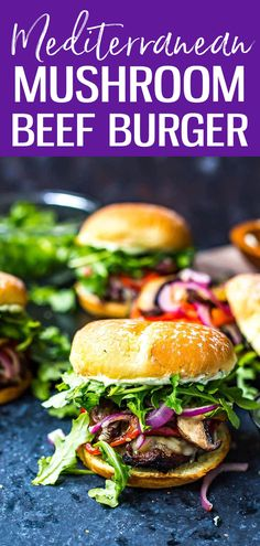 Mediterranean Portobello Beef Burgers are a healthy BBQ recipe topped with garlic herb cheese, roasted red peppers, arugula & basil mayo. #portobellomushroom #mediterraneanburger Healthy Bbq Recipes, Sweets Recipes, Lunch Recipes, Delicious Recipes, Whole Food Recipes, Breakfast Recipes, Yummy Food, Beef Burgers, 30 Minute Meals