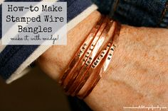 Turn copper wire into stunning DIY Stamped Wire Bangles in a few simple steps with our video and step by step tutorial!