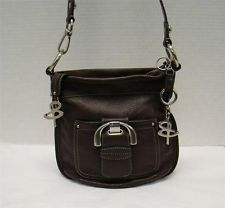B Makowsky Brown Pebbled Leather Westbourn Crossbody Handbag Purse W Key Ring