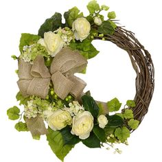 Faux White and Cream Ranunculus Wreath  at Joss and Main