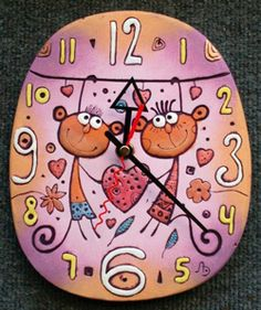 Часы Обезьянки сердце 18х21см
