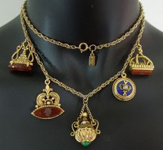 C 1970 Kenneth Lane KJL Victorian Revival Fob Charm Necklace Glass Intaglios I'd recreate this but for the cost of fobs. Rustic Jewelry, Antique Jewellery, Vintage Charm Bracelet, Charm Bracelets, Vintage Costume Jewelry, Vintage Costumes, Pantalon Elephant, Flower Power, Jewelry Ideas