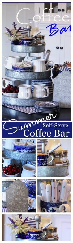 SELF SERVE SUMMER COFFEE BAR- A fun and easy way to serve morning coffee to family and guests. -stonegableblog.com