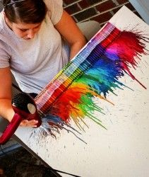 Are you and your kids crafty and artistic and looking for something new to create? Why not try creating your very own melted crayon art masterpiece? It's an awesome gift idea, super fun and easy! Also a great way to get rid of old, used crayons. BUT it does take a while to finish so be patient.