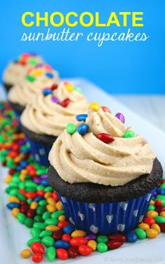 Gluten free, vegan chocolate cupcakes with Sunbutter filling, topped with a vegan Sunbutter buttercream.