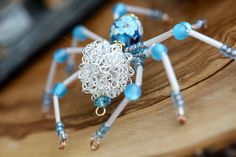 Beaded spider pink eye spider swarovski crystal light catcher beaded spider blue flower spider suncatcher light catcher wind catcher by rainbowcat888 mightylinksfo