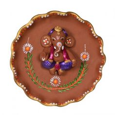 ExclusiveLane Terracotta Handpainted Round Plate Ganesha Wall D Arti Thali Decoration, Ganapati Decoration, Decoration For Ganpati, Home Decor Items Online, Wall Decor Online, Plate Wall Decor, Plates On Wall, Clay Ganesha, Indian Arts And Crafts