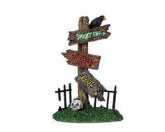 Lemax+Spooky+Town+Halloween+Spooky+Sign+Posts+NIB+94973++