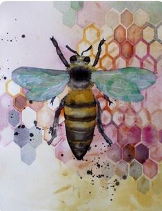 Bee decor and vintage bee hive home decorating. Shop for bee and beehive jewelry, beehive art and home decor and other handmade vintage bee goods for your little hive. Bee Painting, Watercolor Paintings, Watercolours, Watercolor Tattoo, Art And Illustration, Bee Tattoo, Insect Art, Bee Art, Save The Bees