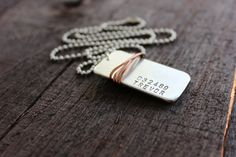 Aluminum and Copper Hand Stamped Dog Tag Necklace by RUSTICBRAND, $24.00