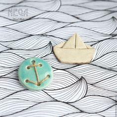 """Купить """"По морям"""" - броши керамические - бирюзовый, брошь, Керамика, кораблик, якорь, морской стиль"""