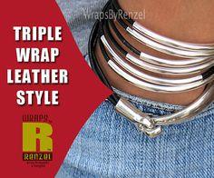 Tube Bead Leather Bracelet Wrap Bracelet Leather by wrapsbyrenzel