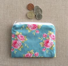 Coin purse card holder zip pouch Tilda fabric by BettyBlooShop