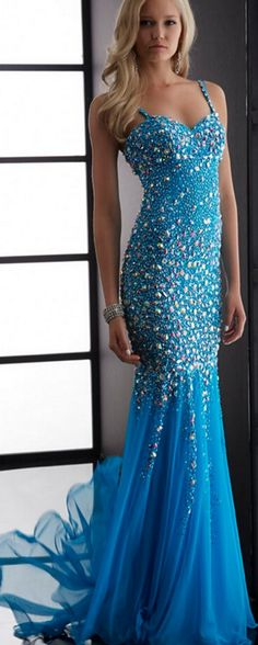 Charming Blue Sexy Fashion Prom Dresses 2016 New Mermaid Sweetheart Spaghetti Backless Long Chiffon Pageant Prom Dresses