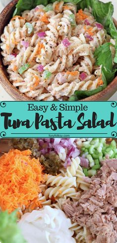 This easy and simple Tuna Pasta Salad can be done ahead of time and is perfect as a side or a stand-alone meal for parties, potlucks, and picnics. This easy and simple Tuna Pasta Salad can be done ahead of time and is perfect as a side or a stand Healthy Meals For Kids, Good Healthy Recipes, Healthy Snacks, Healthy Eating, Quick Easy Meals, Seafood Pasta Recipes, Pasta Salad Recipes, Tuna Recipes, Easy Recipes